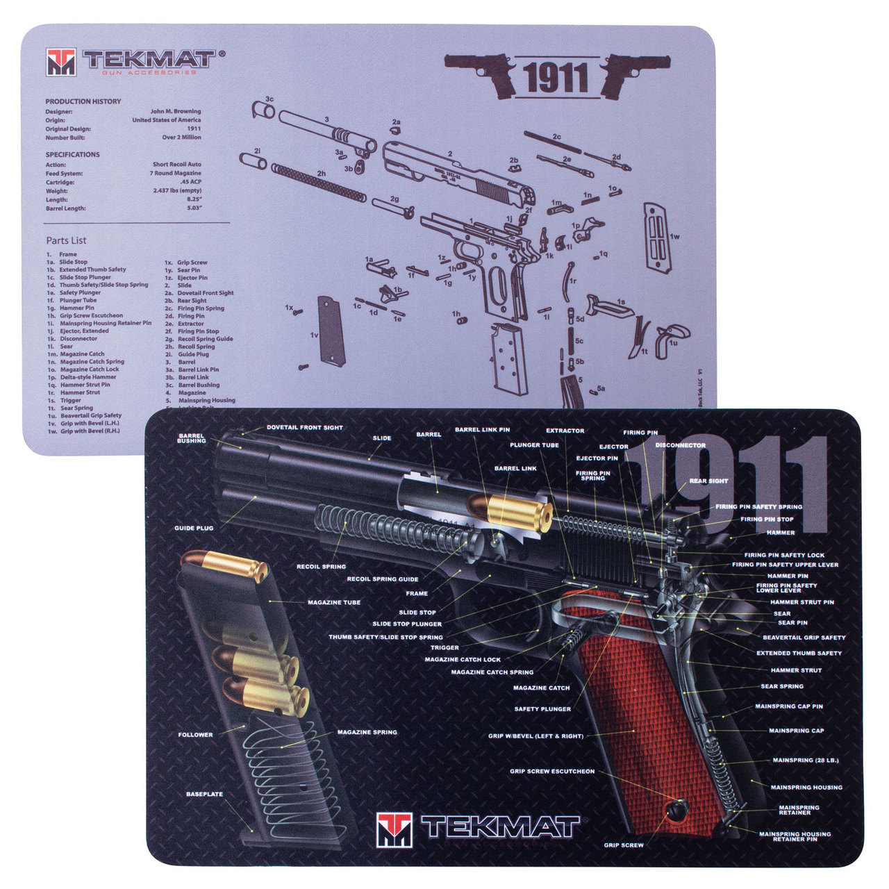 Tekmat Handgun Gunmats Schematic Cutaway Showing Slide Cycle And Case Ejection 1911 Double Sided